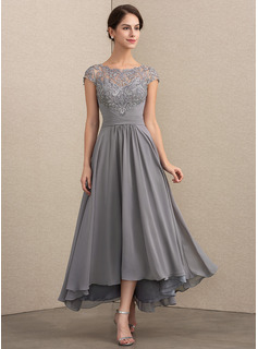 Scoop Neck Asymmetrical Chiffon Lace Evening Dress