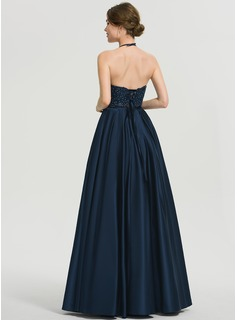 A-Line V-neck Floor-Length Satin Prom Dresses With Beading Pockets