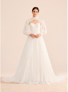 Ball-Gown/Princess Sweetheart Chapel Train Wedding Dress With Beading Sequins