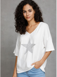 1/2 Sleeves Cotton V Neck Knit Blouses