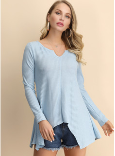 Long Sleeves Cotton Blends V Neck Knit Shirt Blouses Blouses