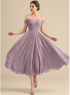 Off-the-Shoulder Tea-Length Chiffon Lace Bridesmaid Dress