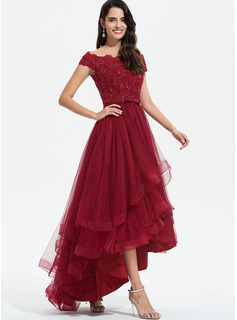 A-Line Off-the-Shoulder Asymmetrical Tulle Cocktail Dress With Beading Sequins Bow(s)