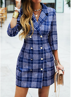 Plaid Sheath Suit Collar 3/4 Sleeves Midi Casual Elegant Dresses