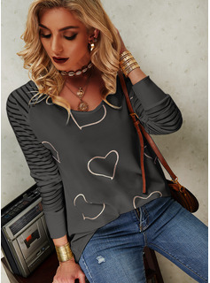 Regular Fitted Print Heart Casual Long Sleeves