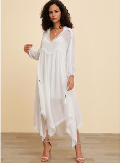 Polyester/Lace With Lace/Embroidery/Solid Maxi Dress