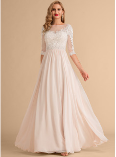 Floor-Length Chiffon Lace Wedding Dress With Beading Sequins