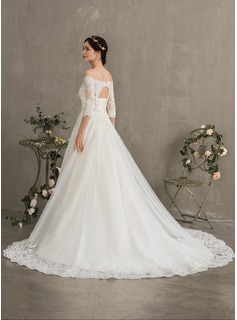 Ball-Gown/Princess Off-the-Shoulder Court Train Tulle Wedding Dress With Beading Sequins
