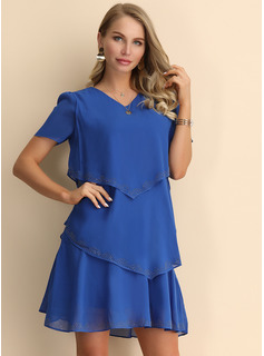Chiffon With Stitching/Solid Above Knee/Knee Length Dress
