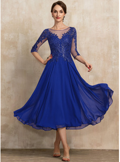A-Line Scoop Neck Tea-Length Chiffon Lace Evening Dress With Sequins