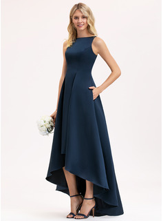 Scoop Neck Asymmetrical Satin Bridesmaid Dress With Pockets