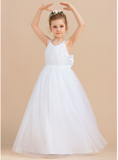 Ball-Gown/Princess Floor-length Flower Girl Dress - Tulle Sleeveless V-neck With Sequins/Bow(s)