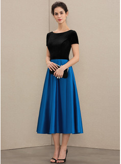 Scoop Neck Tea-Length Satin Velvet Mother of the Bride Dress With Pockets