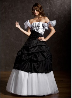 Ball-Gown Strapless Floor-Length Taffeta Tulle Quinceanera Dress With Ruffle Lace Beading