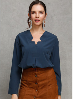 Manches longues Polyester Col V Blouses