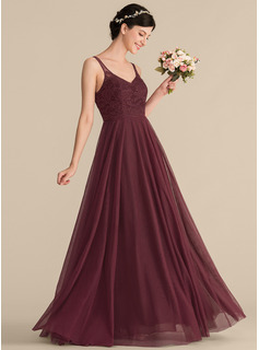 A-Line/Princess V-neck Floor-Length Tulle Lace Bridesmaid Dress