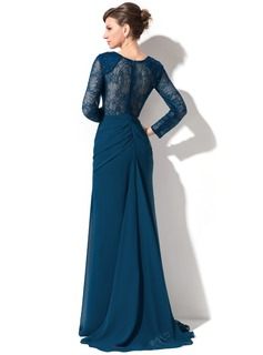Trumpet/Mermaid Sweetheart Sweep Train Chiffon Lace Evening Dress With Ruffle Beading Sequins