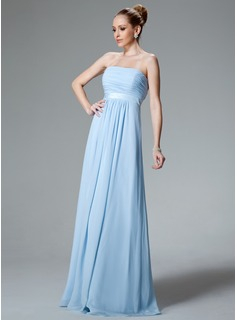 Empire Strapless Floor-Length Chiffon Bridesmaid Dress With Ruffle