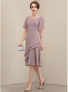 A-Line Scoop Neck Knee-Length Chiffon Mother of the Bride Dress With Cascading Ruffles