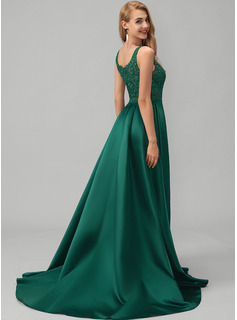 Square Neckline Sweep Train Satin Evening Dress With Lace Sequins Split Front