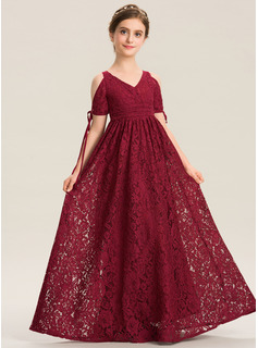 V-neck Floor-Length Lace Junior Bridesmaid Dress With Ruffle Bow(s)
