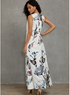 Linen With Print Maxi Dress