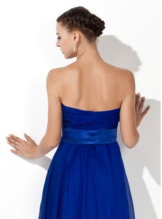 Empire Strapless Knee-Length Chiffon Bridesmaid Dress With Ruffle Sash Bow(s)