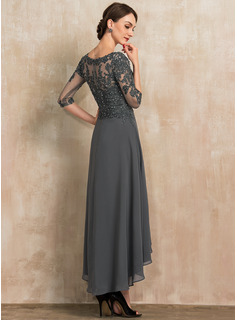 A-Line Sweetheart Asymmetrical Chiffon Lace Cocktail Dress With Beading Sequins