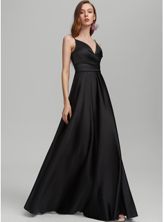 A-Line V-neck Floor-Length Satin Bridesmaid Dress With Ruffle Split Front