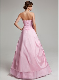 A-Line/Princess Strapless Floor-Length Taffeta Tulle Quinceanera Dress With Ruffle Beading Appliques Lace