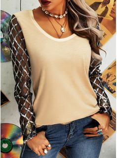 Regular Cotton Blends Round Neck Sequins Solid Fitted Blouses
