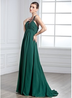 Empire Halter Sweep Train Chiffon Holiday Dress With Ruffle Beading