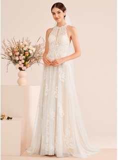 A-Line High Neck Court Train Wedding Dress With Beading