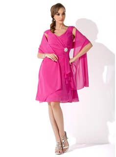 V-neck Knee-Length Chiffon Mother of the Bride Dress With Crystal Brooch Cascading Ruffles