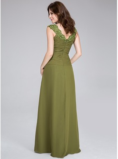 A-Line/Princess V-neck Floor-Length Chiffon Evening Dress With Ruffle Beading Appliques Lace
