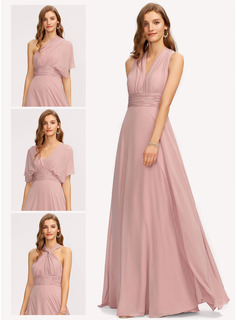 One-Shoulder Halter V-neck Floor-Length Chiffon Bridesmaid Dress With Ruffle