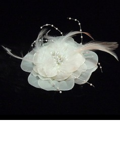 Dames Glamour Feather/De faux pearl/Mousseline Chapeaux de type fascinator/Chapeaux Tea Party