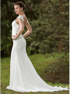 Trumpet/Mermaid Square Neckline Court Train Chiffon Wedding Dress With Ruffle Lace Beading Sequins