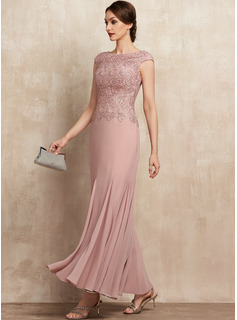 Trumpet/Mermaid Scoop Neck Ankle-Length Chiffon Lace Mother of the Bride Dress