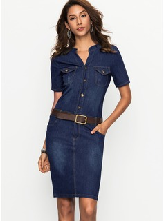 Denim With Stitching Above Knee Dress