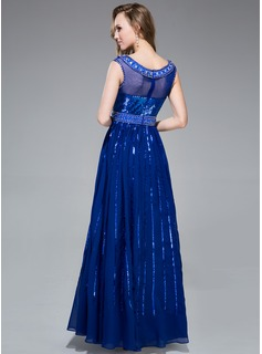A-Line/Princess Scoop Neck Floor-Length Chiffon Sequined Prom Dress With Beading