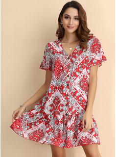 Polyester With Button/Print/Ruffles Above Knee Dress