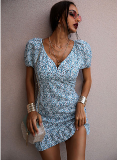 Floral Print Shift V-Neck Short Sleeves Midi Casual Vacation Tunic Dresses