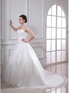 Ball-Gown Sweetheart Chapel Train Satin Organza Wedding Dress With Ruffle Beading