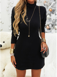 satin long sleeve dress short