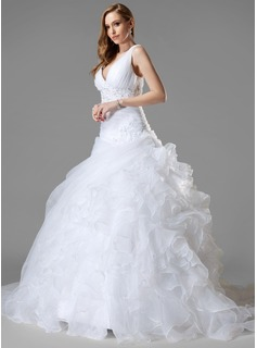 Ball-Gown V-neck Chapel Train Organza Wedding Dress With Lace Beading Sequins Cascading Ruffles