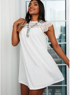 Lace Solid Shift Round Neck Short Sleeves Midi Casual Tunic Dresses