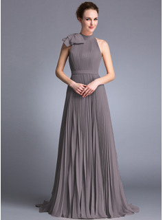 Scoop Neck Sweep Train Chiffon Evening Dress With Bow(s) Pleated
