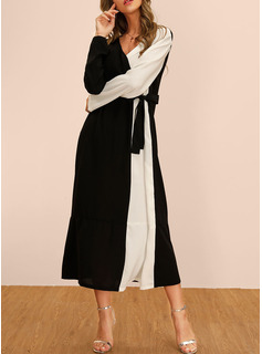 Polyester With Color-block Midi Dress