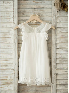 A-Line Scoop Neck Knee-Length Tulle Lace Junior Bridesmaid Dress